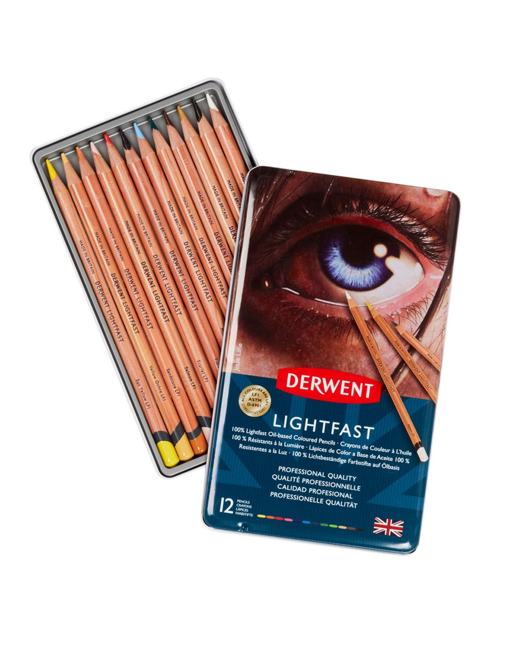 DERWENT LIGHTFAST PENCILS TIN X12