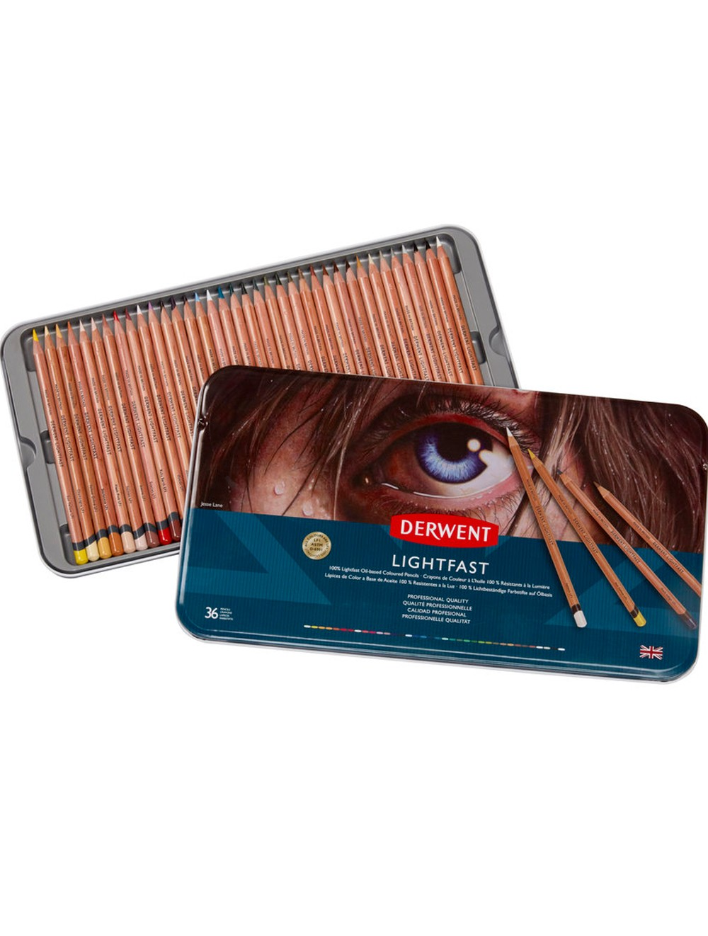 DERWENT LIGHTFAST PENCILS TIN X36