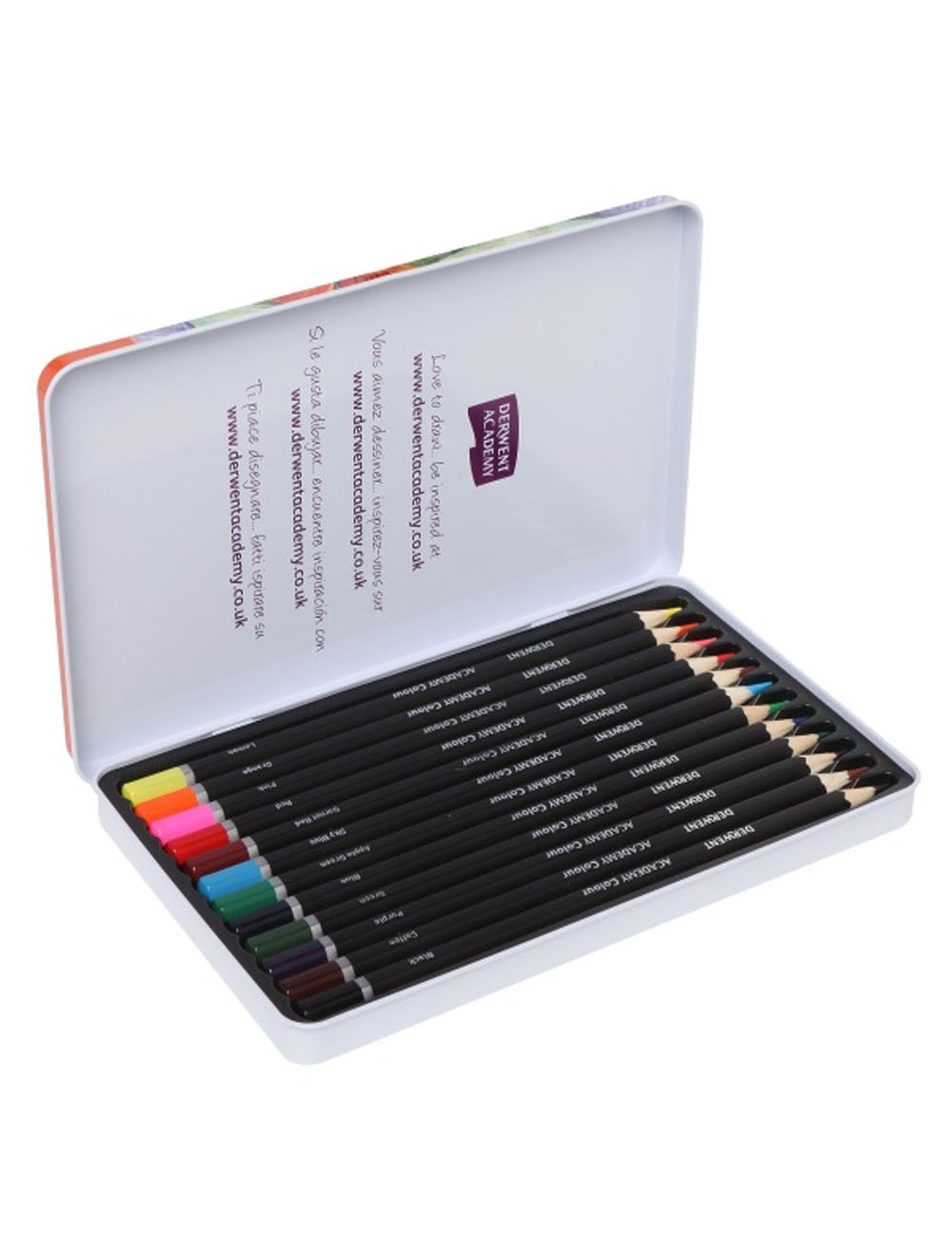 DERWENT ACADEMY COLOURED PENCILS 12 TIN