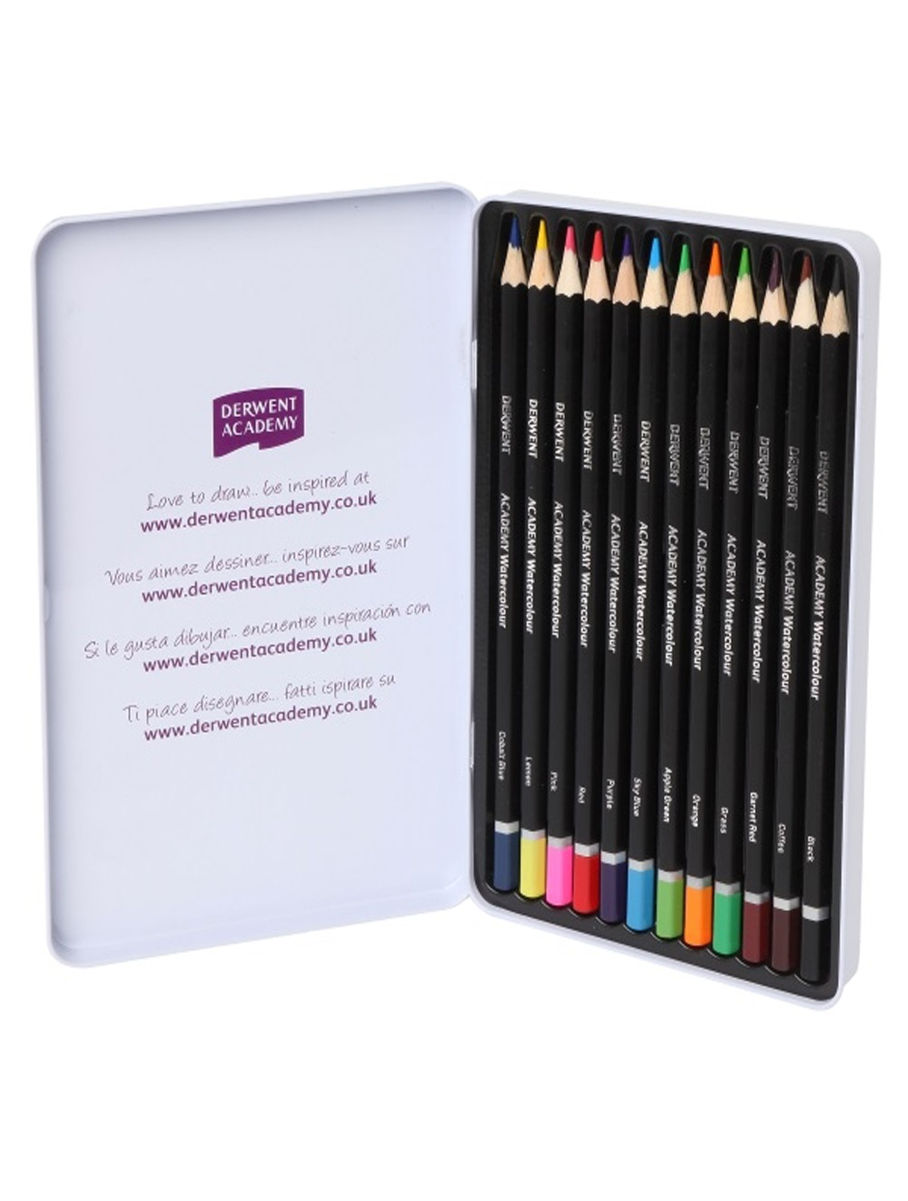 DERWENT ACADEMY WATERCOLOUR PENCILS 12 TIN