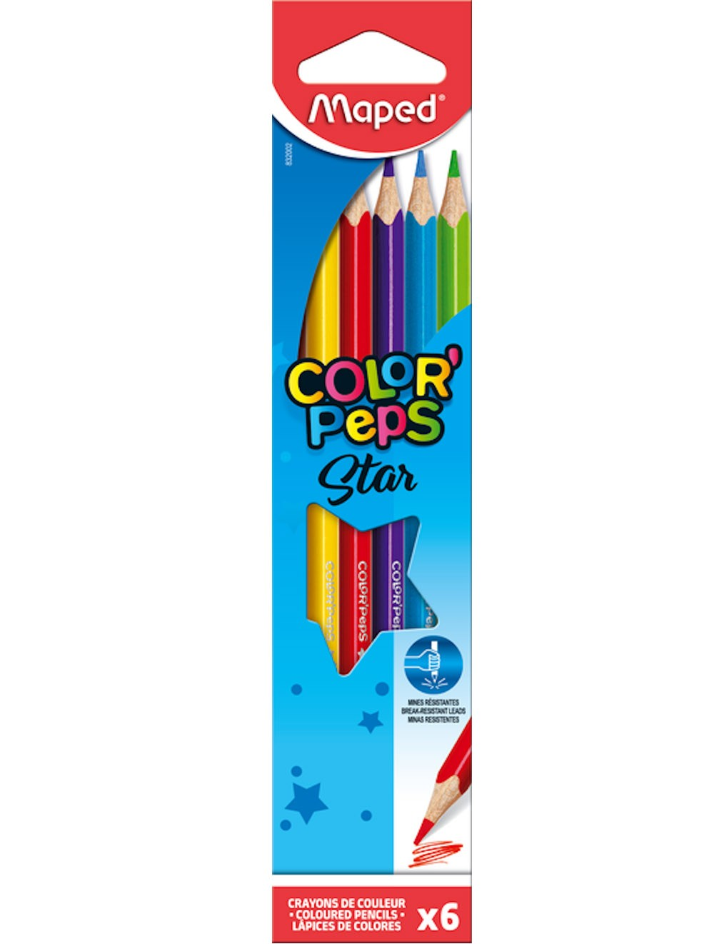 MAPED COLOR PEP'S STAR - BOX OF 6 COLOUR PENCILS