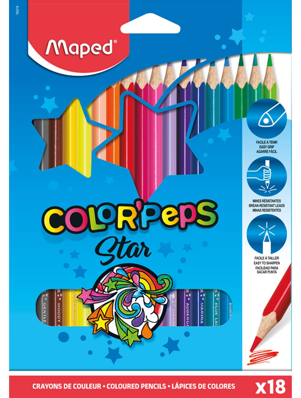 MAPED COLOR PEP'S STAR- BOX OF 18 COLOUR PENCILS