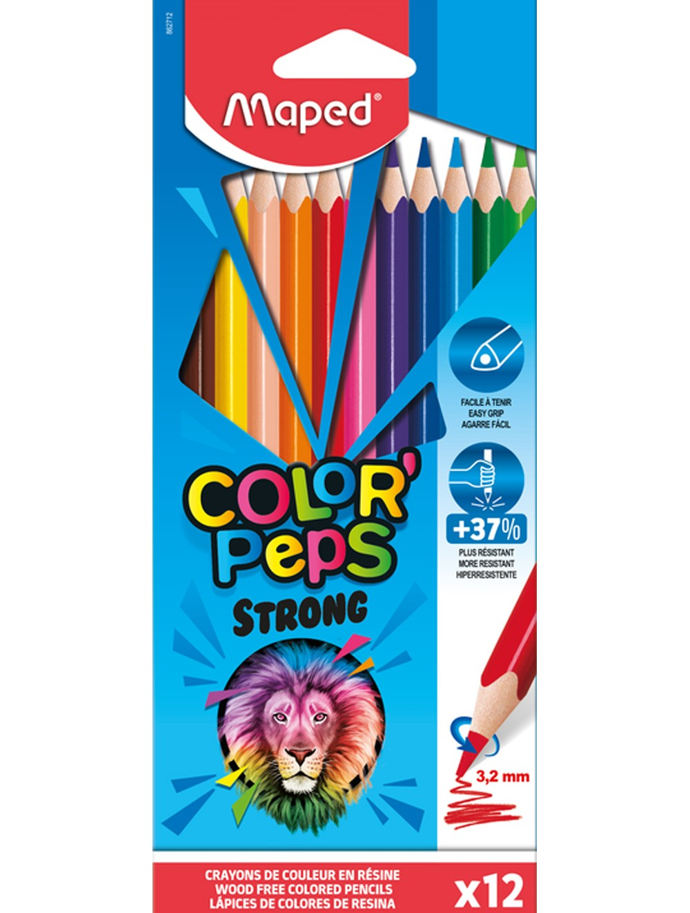 MAPED COLOR'PEPS STRONG x 12 COLOURED PENCILS