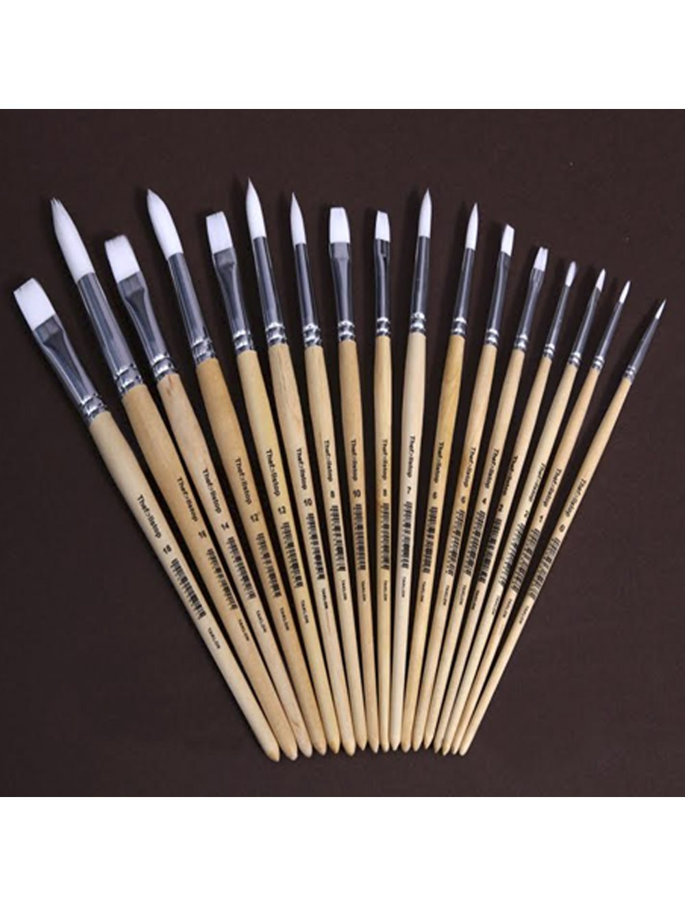 THEF:;LLSTOP WHITE TAKLON BRUSHES - FLAT (SIZES NO. 2-18)