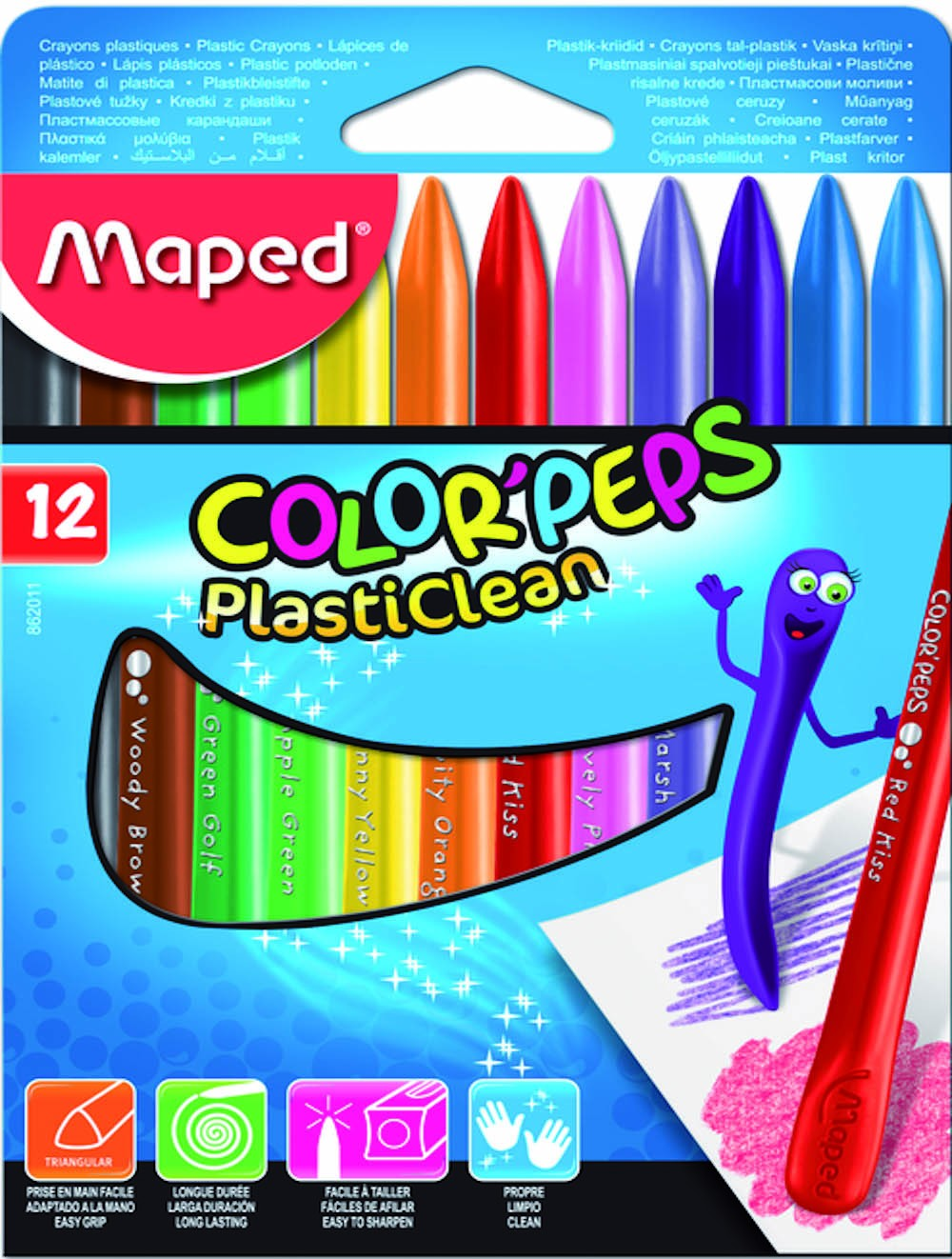 MAPED COLOR'PEPS PLASTIC CRAYON X 12