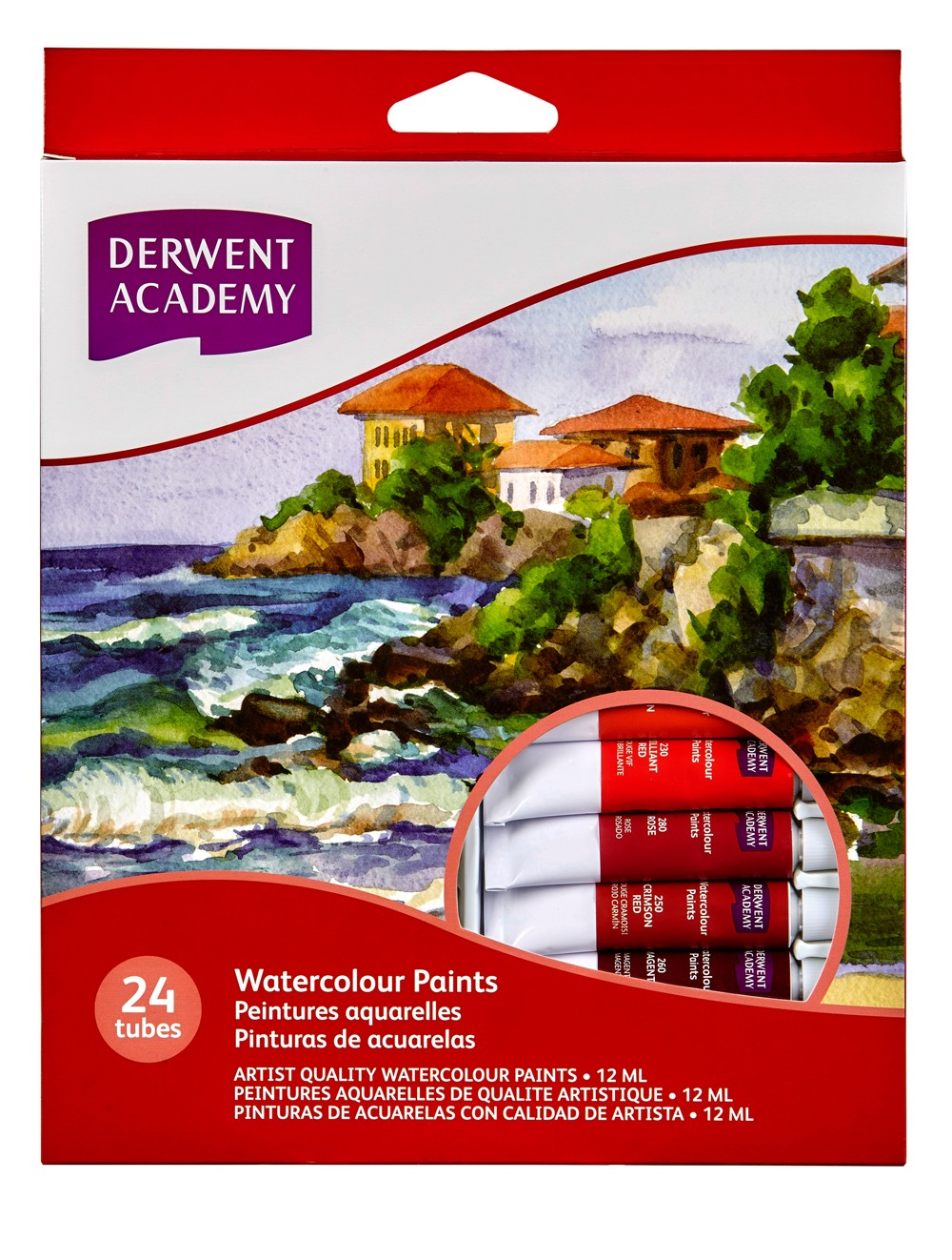 DERWENT ACADEMY WATERCOLOUR PAINT 12 ML 24PK