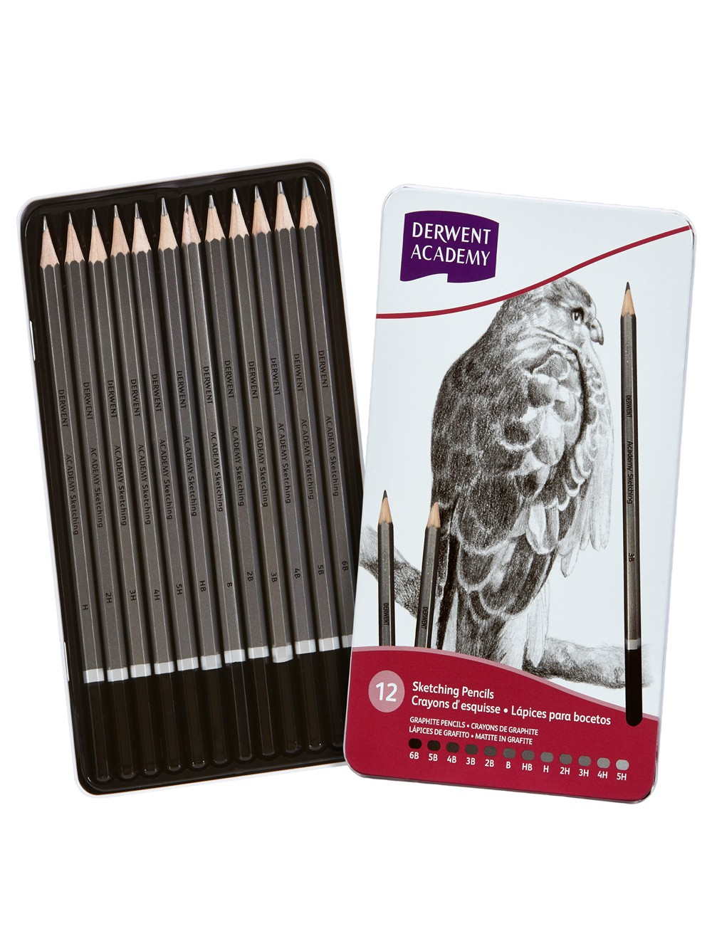 DERWENT ACADEMY SKETCHING PENCILS 12 TIN (5H-6B)