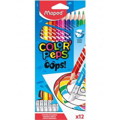 MAPED COLOR'PEPS OOPS - 12 ERASABLE COLOURED PENCILS