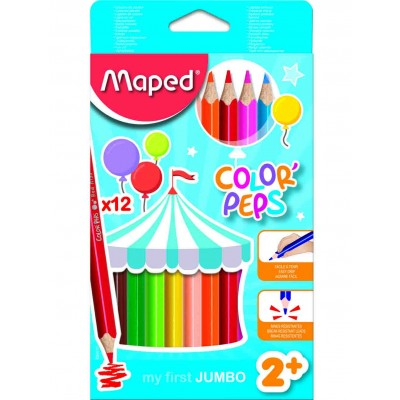 MAPED JUMBO COLOR'PEPS STAR -12 COLOUR PENCILS